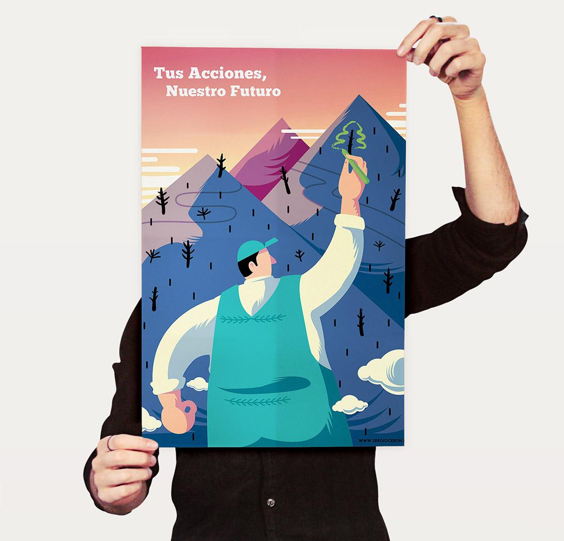 Poster ilustrado sobre medio ambiente