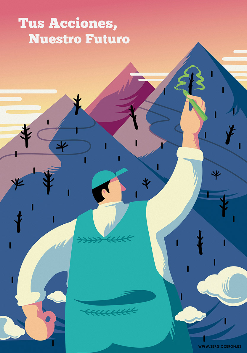 Ilustración cartel ecología