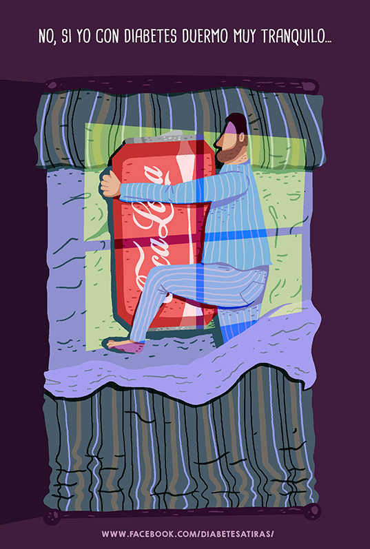 Ilustración tira cómica diabetes