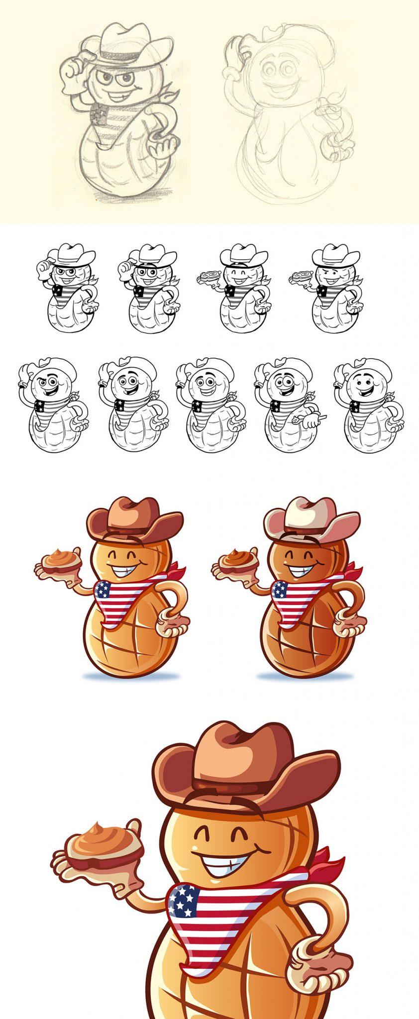 Ilustración mascota cacahuete
