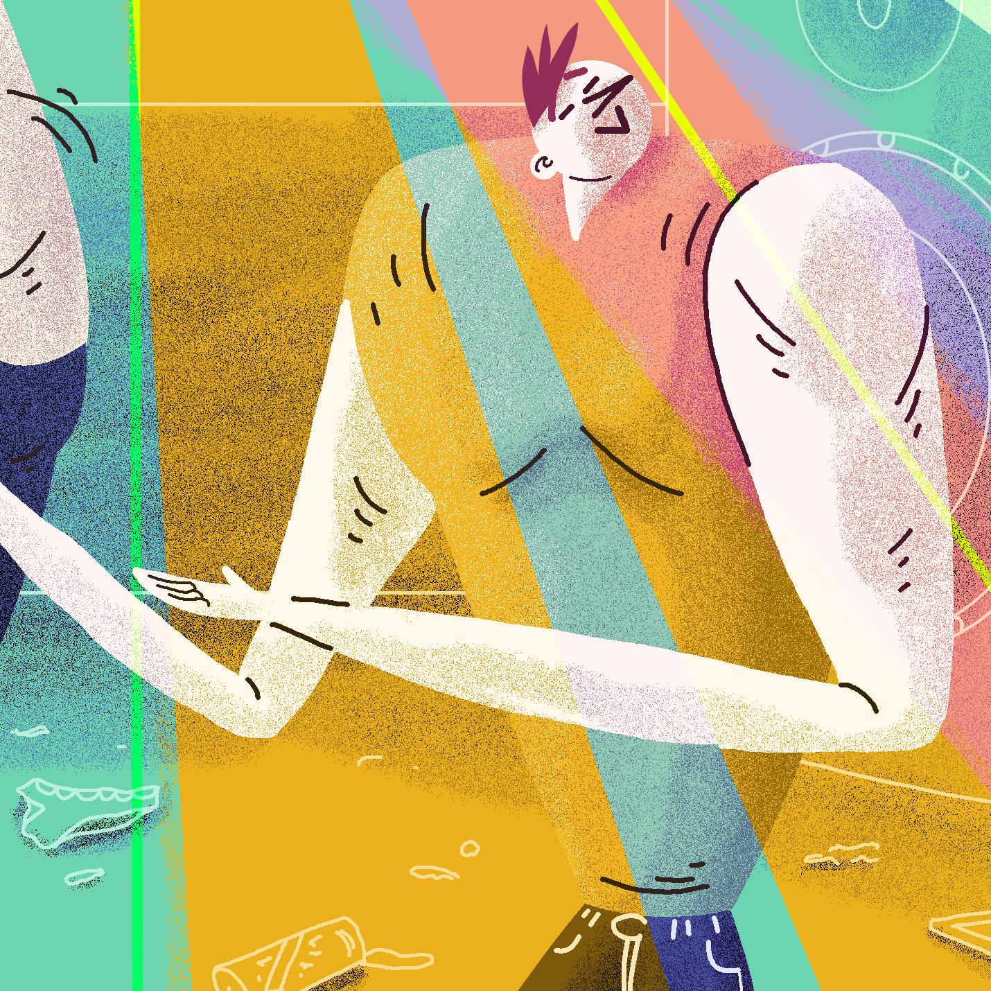 Detalle ilustración bailando en la disco