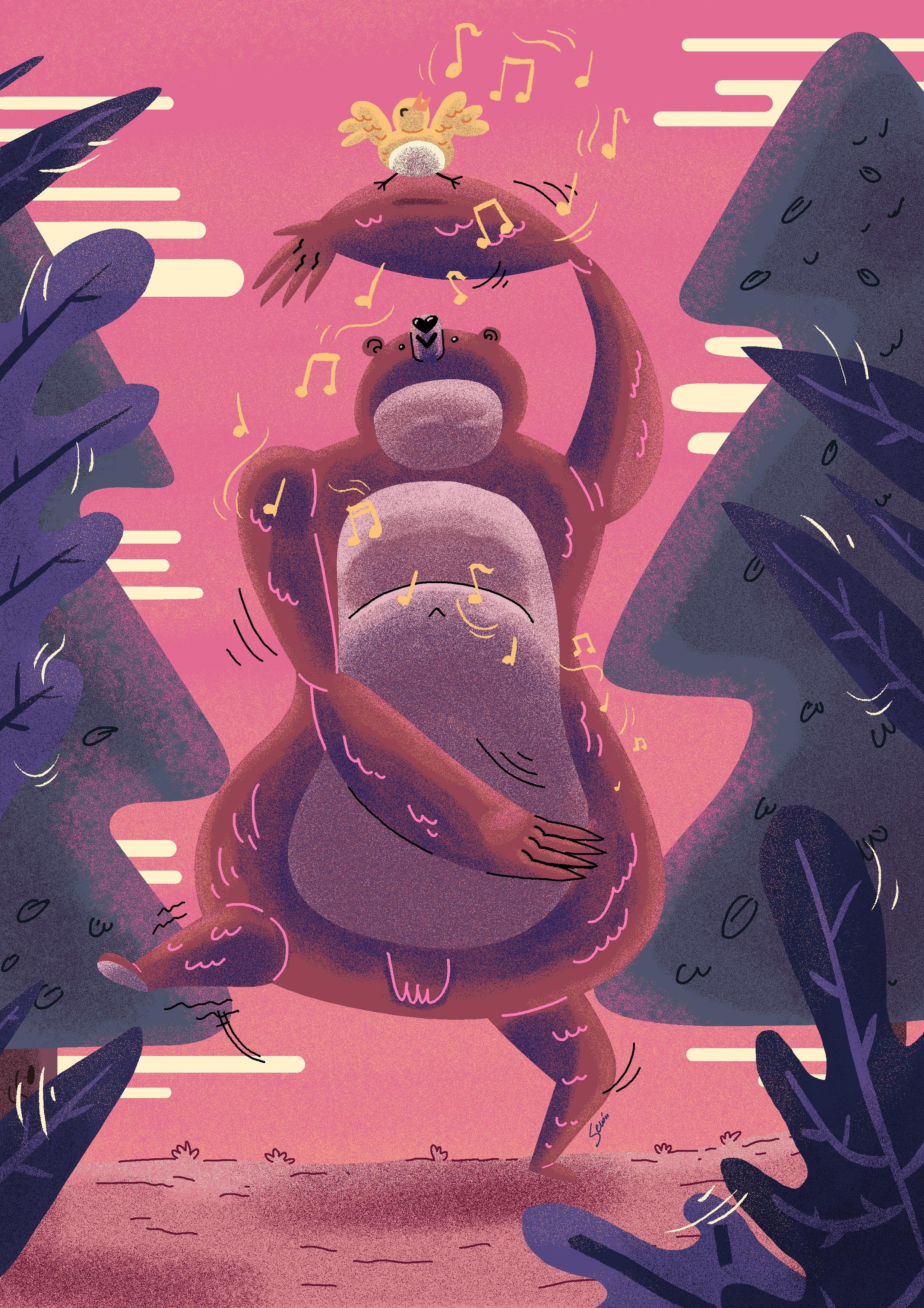 Ilustración animales bailando