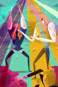 Ilustracion discoteca baile