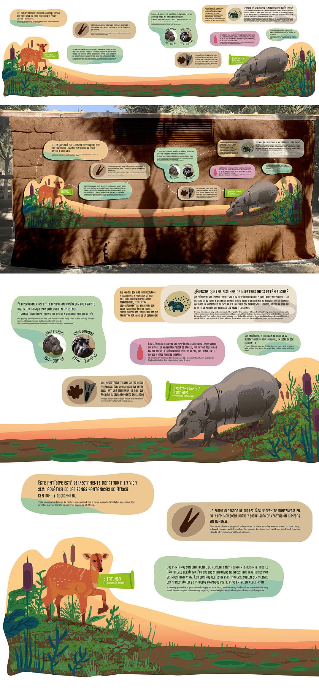 Panel de gran formato con ilustraciones de animales vectoriales
